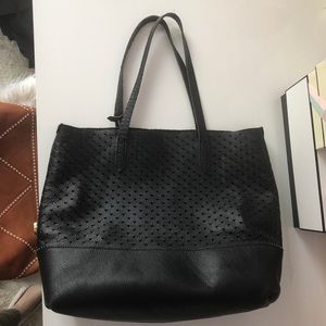 J.Crew downing heart cut out leather tote